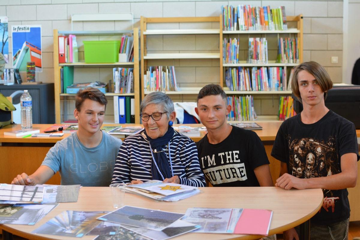 Jean-Pascal, Jonathan et Nelson de TFINTMA avec Ginette Kolinka