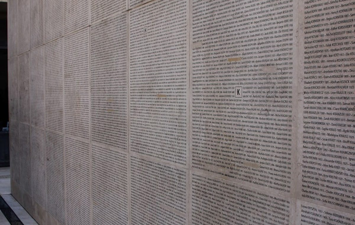 Le mur des noms - Mémorial de la Shoah